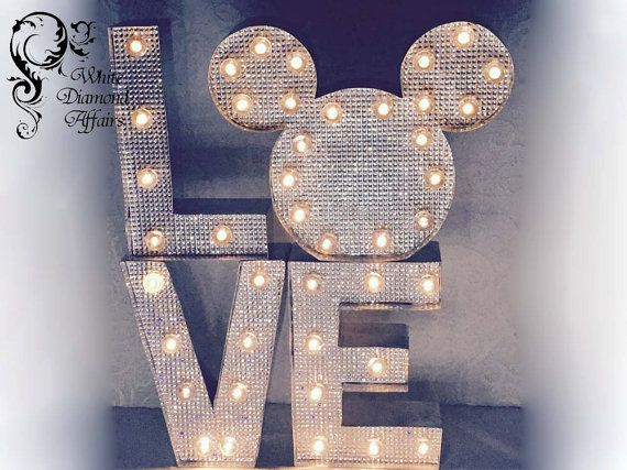 Rhinestone Bling Lighted Disney Wedding by WhiteDiamondAffairs
