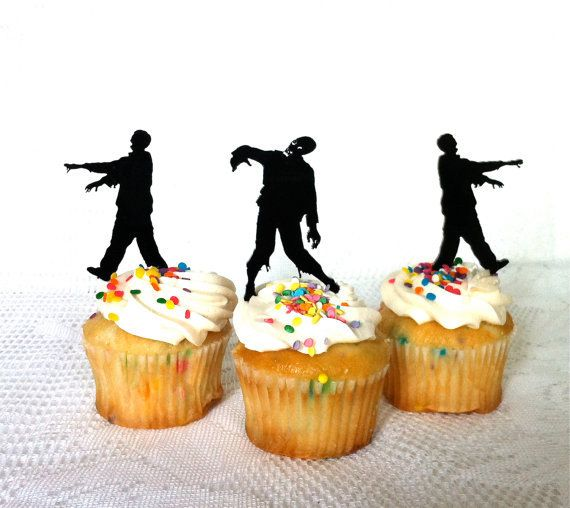 Halloween Zombie Apocalypse Cupcake Toppers Silhouette  wedding party food picks toothpicks decor-in Event & Party Supplies from Home & Garden on Aliexpress.com | Alibaba Group