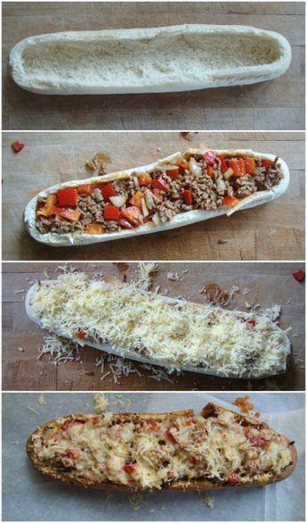 Gevuld stokbrood met gehakt, paprika en kaas eventueel met baconreepjes? Tomatenpuree eronder
