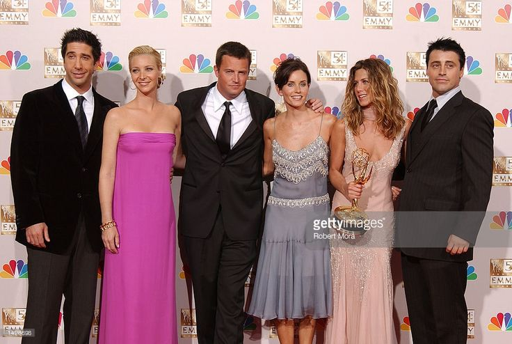 Actors David Schwimmer, Lisa Kudrow, Matthew Perry, Courteney Cox Arquette, Jennifer Aniston and Matt LeBlanc pose backstage during the 54th Annual Primetime Emmy Awards at the Shrine Auditorium on September 22, 2002 in Los Angeles, California. Aniston won Outstanding Lead Actress in a Comedy Series for 'Friends.'