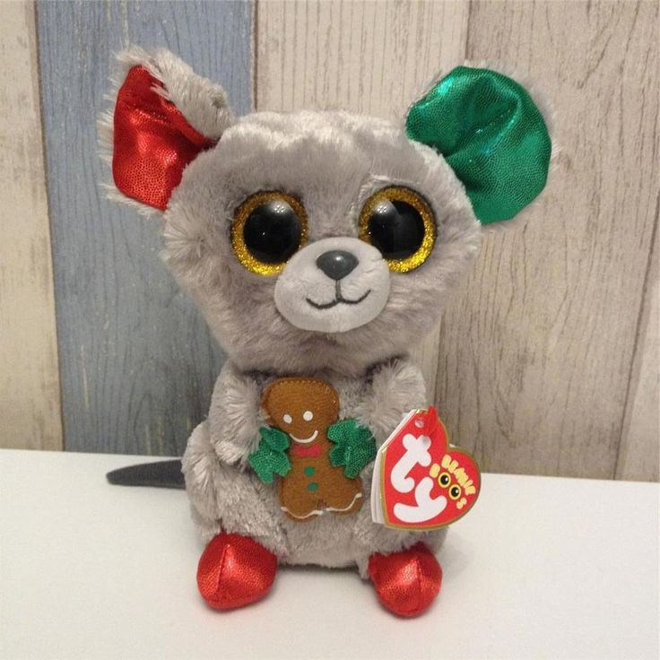 Ty Beanie Boos MAC the Christmas Mouse w Ginger Bread Man NWMT New