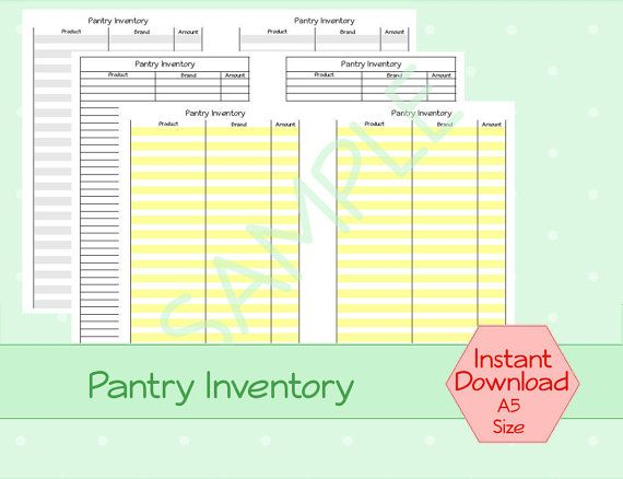 A simple inventory list--use it every so often to keep inventory - inventory stock list