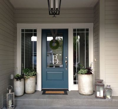 Sherwin Williams: Dark Gray- Gauntlet Gray 7019 Light Gray- Mindful gray 7016 White Trim- Greek Villa 7551 Blue Door- Tempest Star 6229