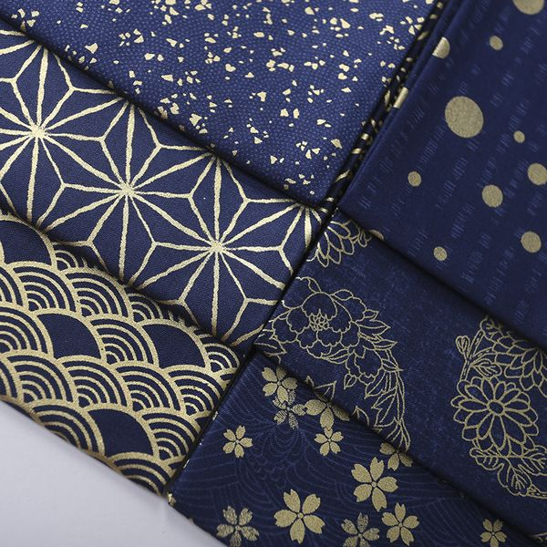 复古日本和风手工diy布料面料 蓝色烫金全棉印花和服面料 半米价