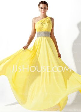 Oh...now for the occasion! Flowing sunshine w/sparkle! ooox, kel >> [US$ 128.99] Empire One-Shoulder Floor-Length Chiffon Prom Dress With Ruffle Beading (018020583)