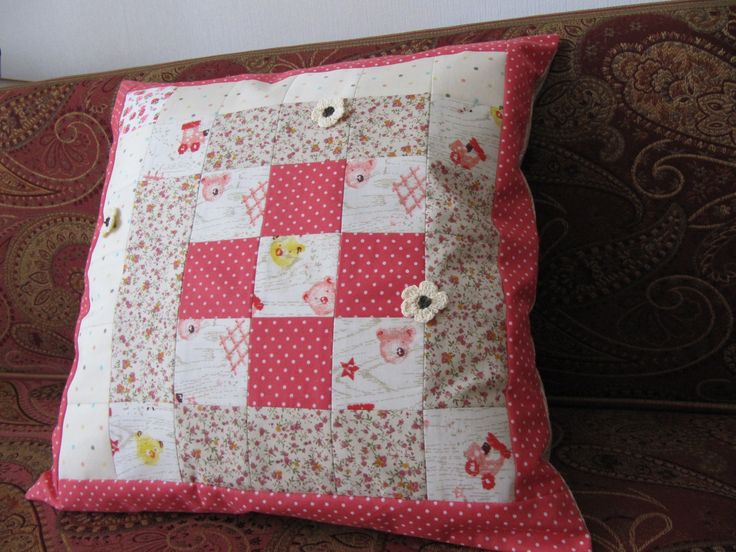 """Pillow cover """"All about Teddy bears, cars and blossoming flowers"""""""
