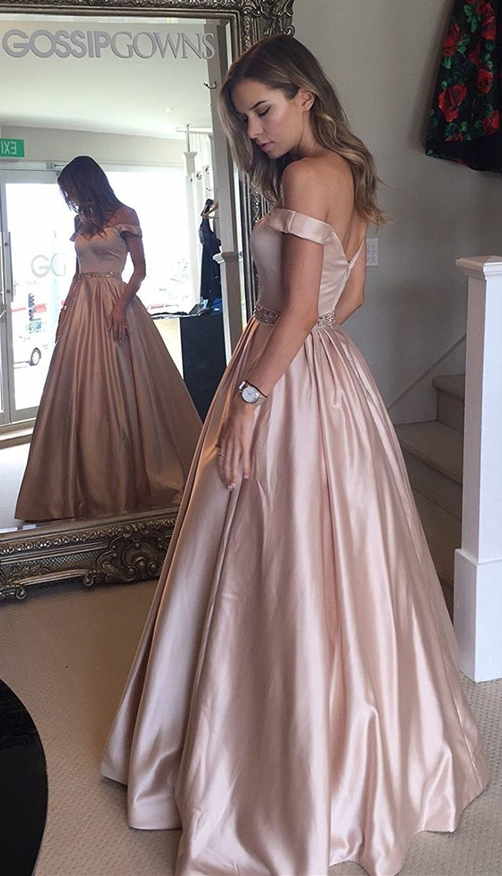 c754f3116a 2018 off the shoulder pink long prom dress with pockets  promdress   2018promdress  pink  offtheshoulder  partydress