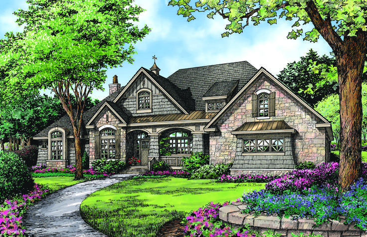 Like the plan, but put kitchen sink under front window & change entry to MBR .....Front Rendering of The Chesnee - House Plan #1290