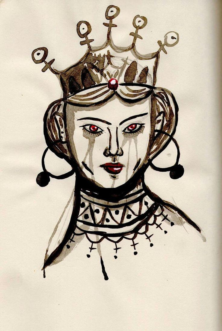 Reina Roja. Acuarela y Tinta china. Oscar_ilustra