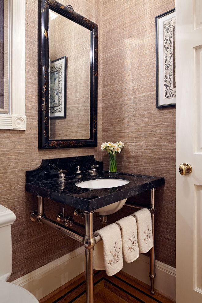 Marvelous Cool Tone Neutral Grasscloth Wallpaper In Powder Room.