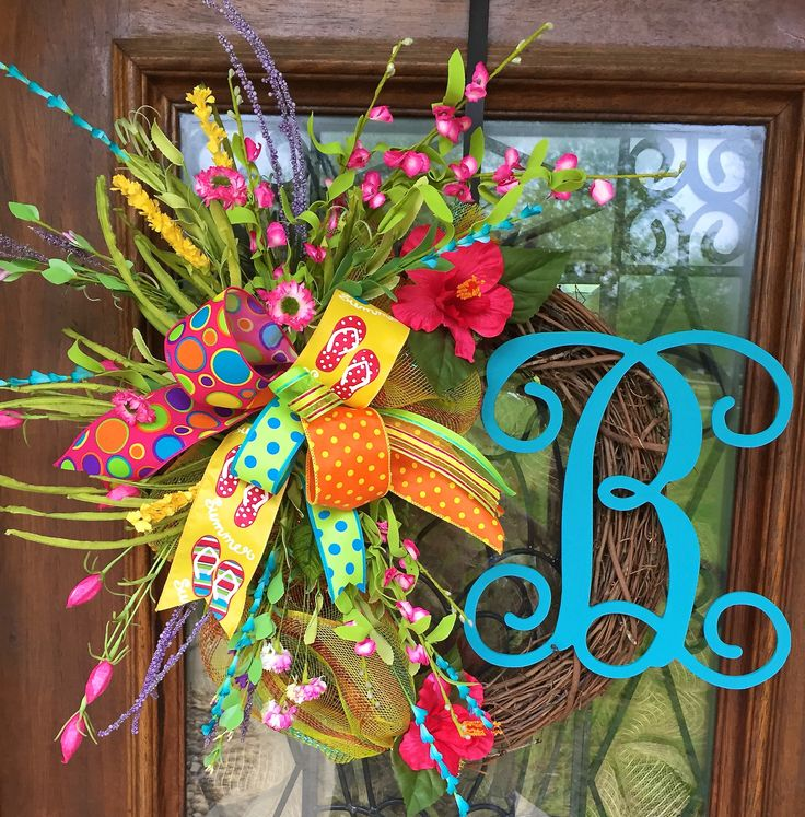 Floral initial wreath on a grapevine base.  Summer at it's best.  www.facebook.com/southernsass