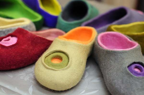 Wet felt layered slippers
