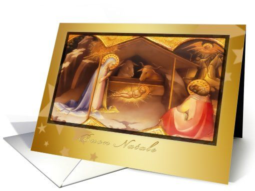 buon natale, merry christmas in Italian, josef and mary, nativity card