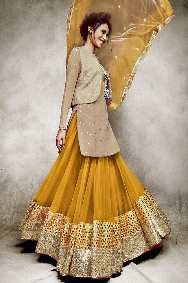 Beige & Mustard Jacket Style Three-Piece #Lehenga Set.