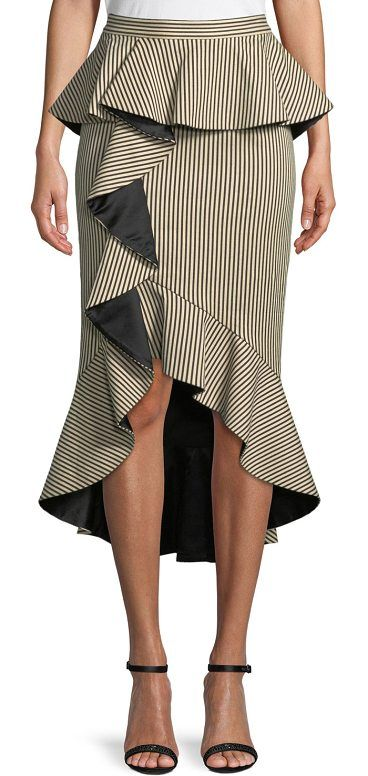 """Alessandra Ruffled Peplum Striped Pencil Skirt by Alice + Olivia. Alice + Olivia """"Alessandra"""" striped skirt with ruffled frills. Natural rise; peplum waist. Pencil silhouette. Back zip. Cutaway high-low hem. Cotton/viscose/spandex. Lining, polyester/spandex. Imported. #aliceolivia #skirts"""