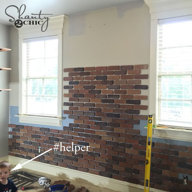 Brick Wall Progress - DIY Exposed thin brick wall installation