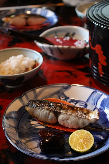 Japanese Breakfast with Grilled Fish and Rice