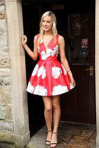 Red & White Plunge Floral Skater Dress | Buy Dresses Online Ireland | Ireland's Best Fashion Boutique