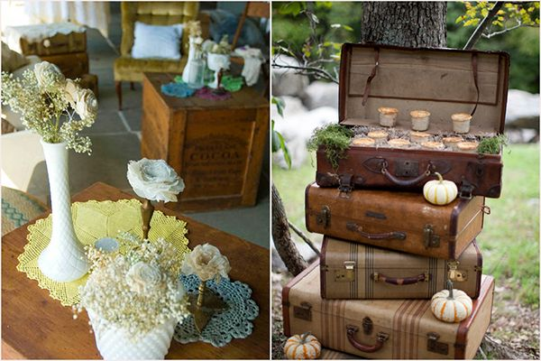 Vintage decor wedding planning tips showcasing vintage chairs, vintage tables, vintage china and vintage sofas.