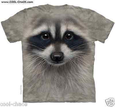Funny Raccoon T-Shirt / Funny Animal grey tie dye tee! 3D Sweet Raccoon Face