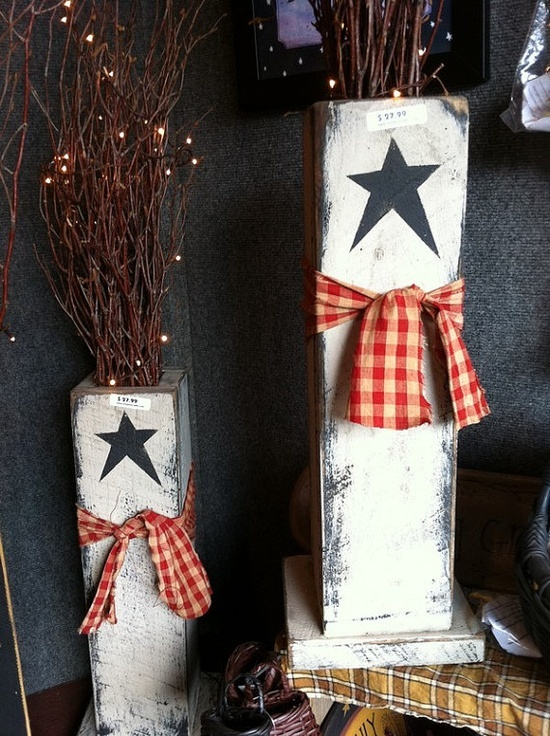 Primitive Wood Crafts | Tall primitive wood box made from salvaged antique barn wood rustic ...