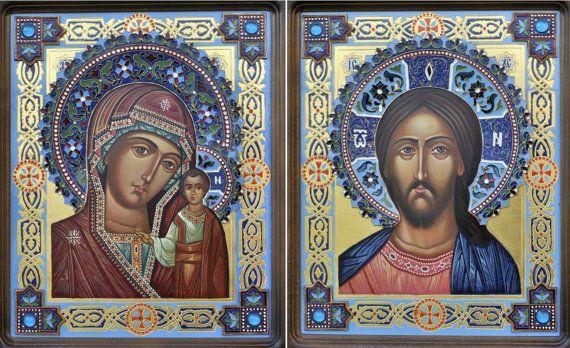 Вінчальна пара ..Казанська Богородиця Ісус Христос by artangelino, $700.00