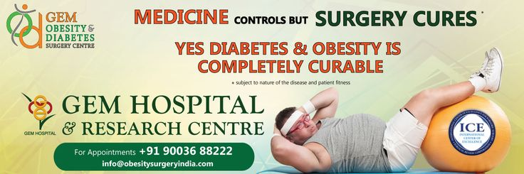 Medicine controls BUT Surgery cures *  Yes Diabetes & Obesity is completely curable  * subject to nature of the disease and patient fitness  GEM Obesity & Diabetes Surgery Centre  GEM Hospital & Research Centre  For Appointments +91 90036 88222 info@obesitysurgeryindia.com  Coimbatore | Tirupur | Erode | Thrissur