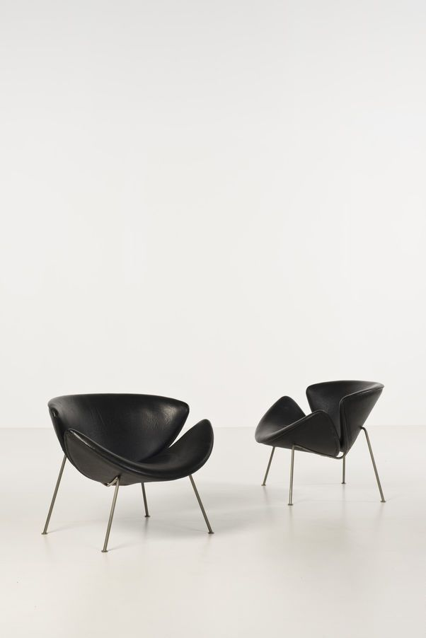 F437 Orange Slice in black | armchair . Sessel . fauteuil | Design: Pierre Paulin | Artifort |