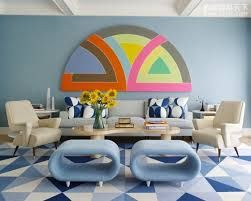 Multi-colour geometric decal on wall and geometric on floor