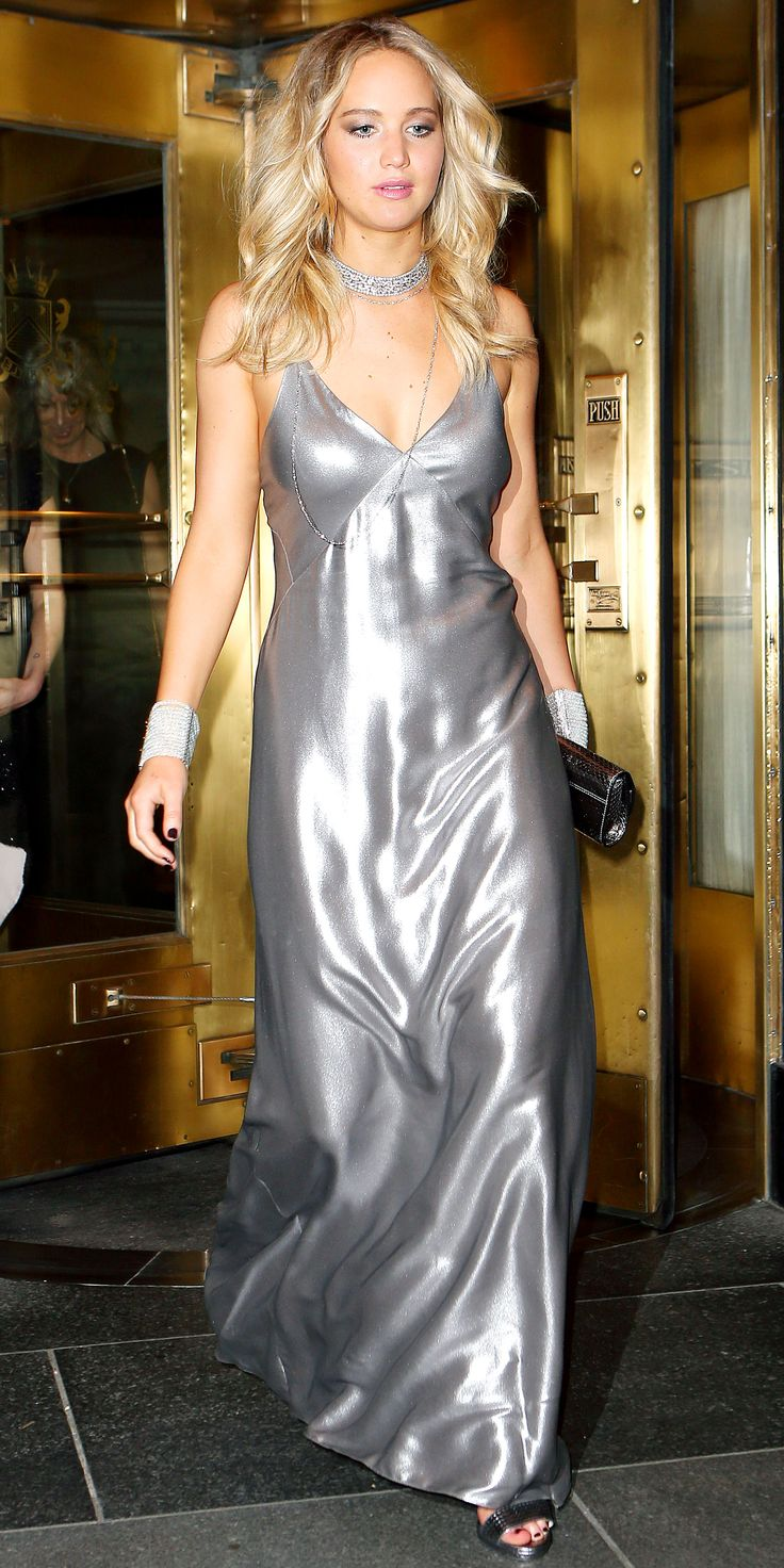 Jennifer Lawrence Schools Us on How to Pull Off a Slip Dress - Shine Bright in Head-to-Toe Metallics  - from InStyle.com