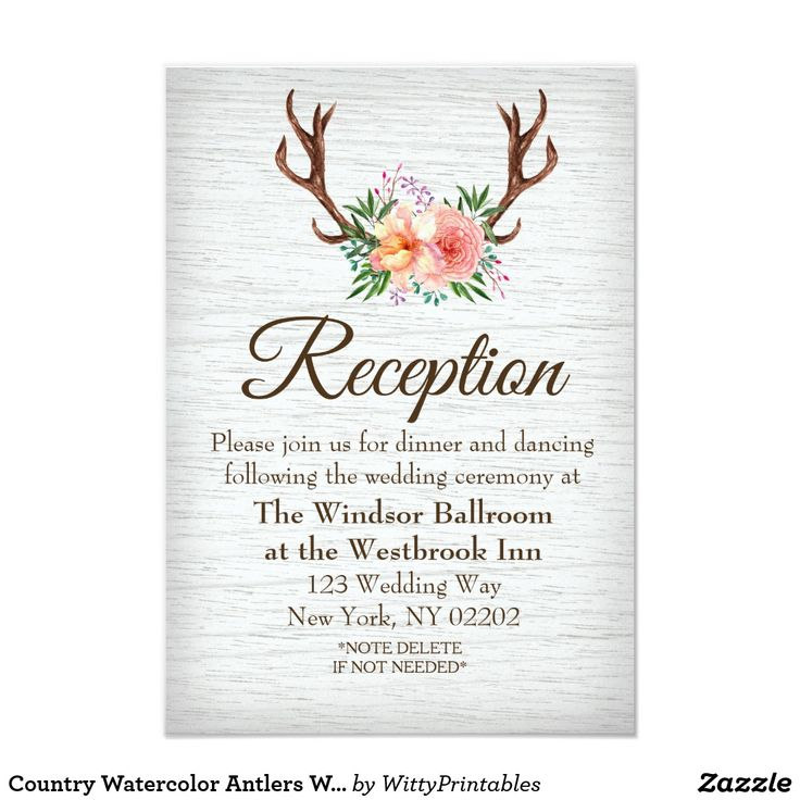 Country Watercolor Antlers Wedding Reception Card