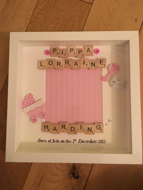 Personalised scrabble frame Baby by BethsFamilyFrames on Etsy