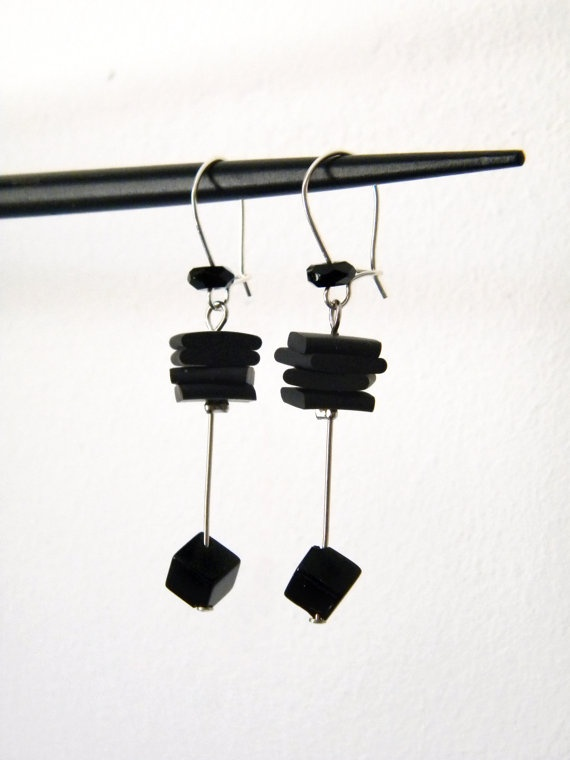 Black earrings onyx cube and flat rubber squares by BlackRedDots, $20.00