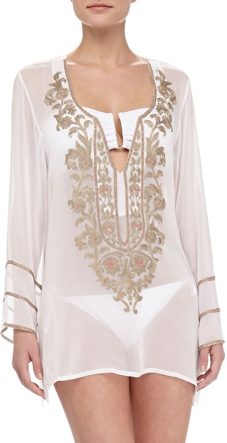 Ella Moss Swim Belle Floral-Embroidered Sheer Coverup Tunic