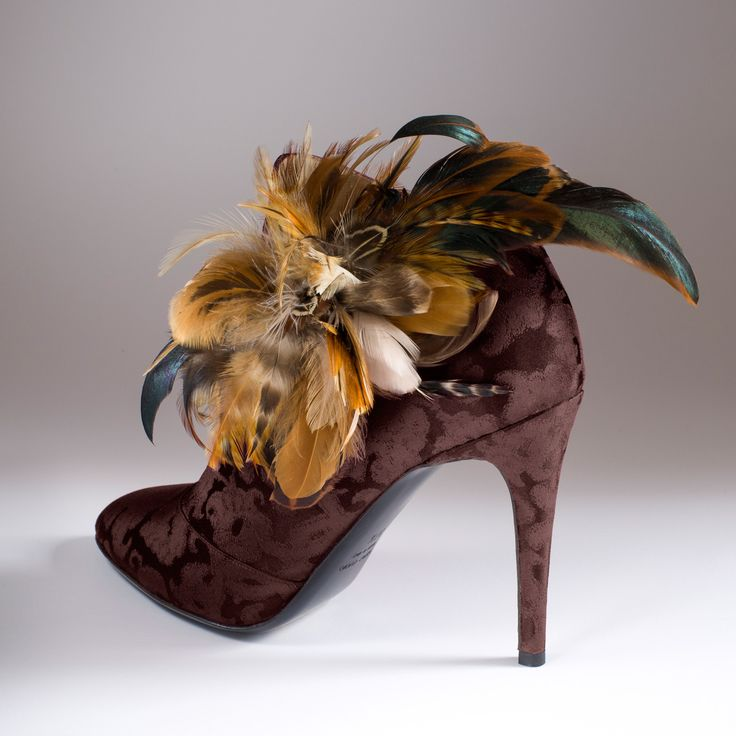 """La Fée des Bois"""" in Rubelli ebony silk brocade with """"Diana the Huntress"""" feathers http://store.leschaussonsdelabelle.com"""