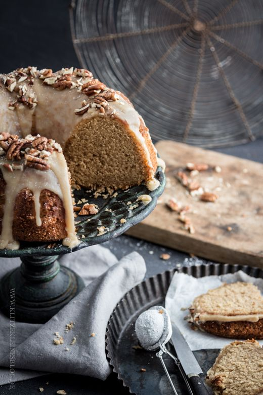 Apple yogurt bundt cake with a piece of browned butter