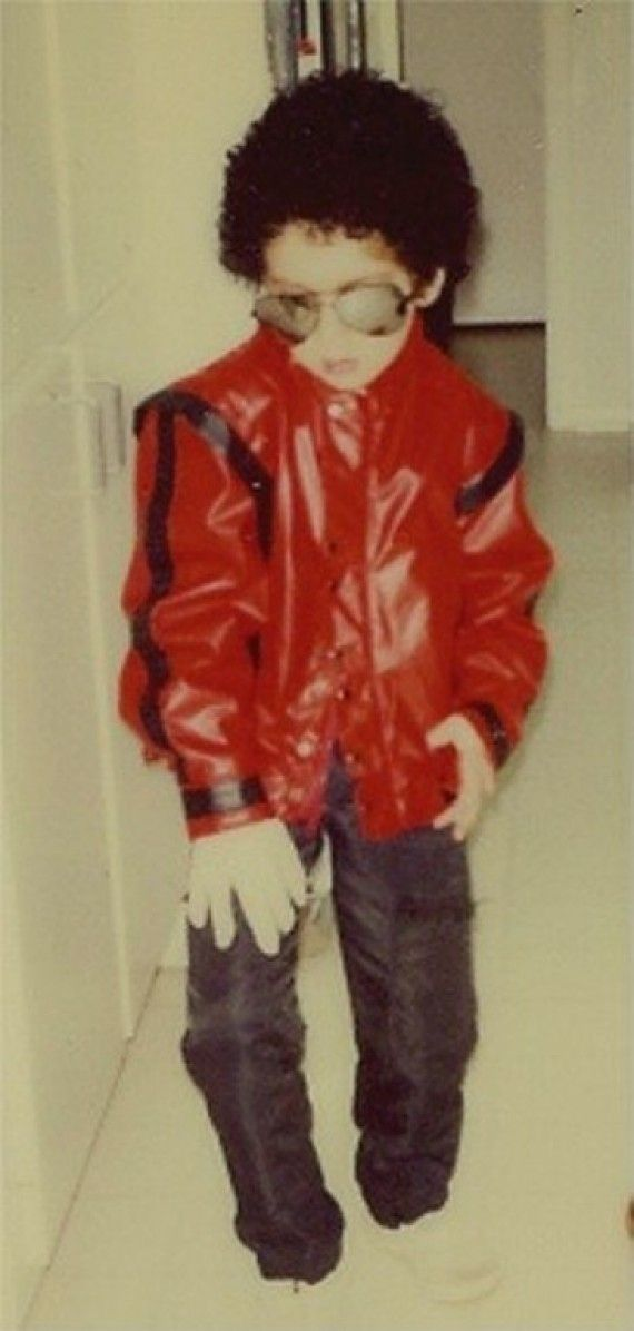 This is an epically cute Michael Jackson costume! Lots of 80's costumes :)