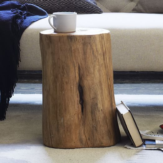 Natural Tree Stump Side Table. Good idea for your side table/mousing surface. Inexpensive and will bring some much needed wood tones opposite the dresser.
