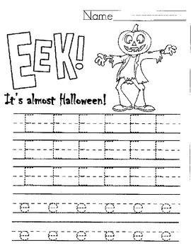 halloween letter e handwriting worksheet eek handwriting worksheets halloween and letters. Black Bedroom Furniture Sets. Home Design Ideas