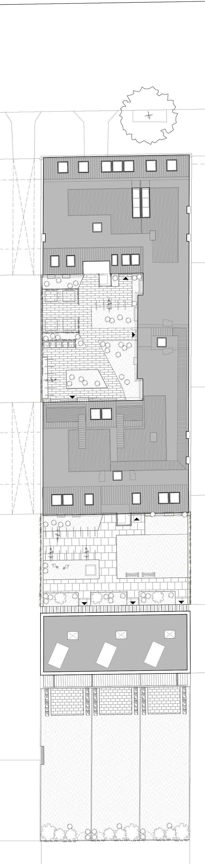 WOHNEN SCHARNWEBERSTRASSE Berlin | Michels Architekturbüro Neubau Dachgeschoss und Neubau von drei Gartenhäusern Dachaufsicht Gründerzeitblock in Berlin Friedrichshain, Townhouses mit zugehörigen Gärten, Mietwohnungen mit 2-3 Zimmern, großzügige Dachterrassen, Fußbodenheizung, hochwertiges Parkett