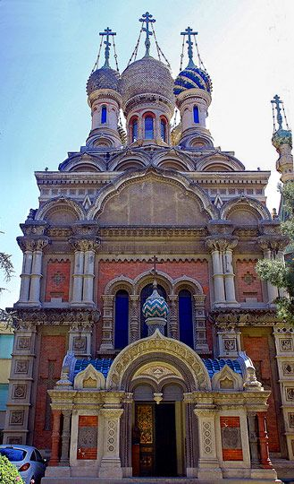 Multicolored, russian orthodox Church (San Remo, Liguria)