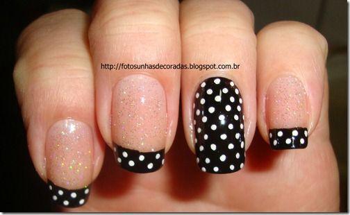 Polka Dot French Tips Nails