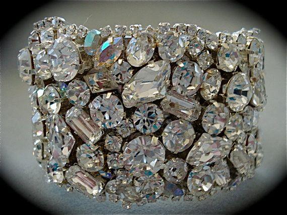 Swarovski Chunky Crystal Wedding Cuff Bracelet by TheCrystalRose