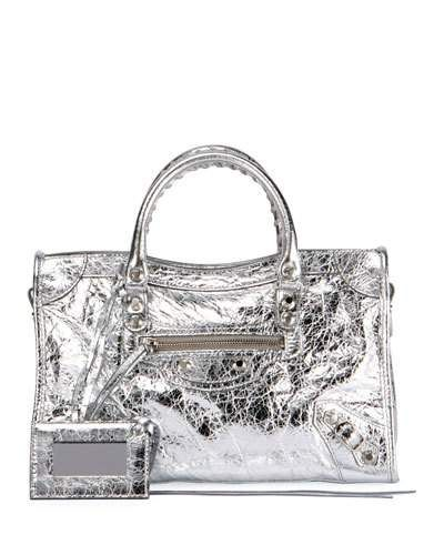 065736caee BALENCIAGA CLASSIC CITY AJ SMALL METALLIC LEATHER SATCHEL BAG.  balenciaga   bags  leather  satchel  metallic  shoulder bags  hand bags  cotton