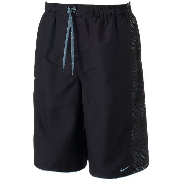 Big & Tall Nike Core Emboss Volley Shorts ($48) ❤ liked on Polyvore featuring men's fashion, men's clothing, men's activewear, men's activewear shorts, black, mens activewear and mens activewear shorts
