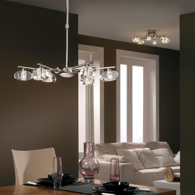 Lámpara cromo ALFA 6 luces - La Casa de la Lámpara