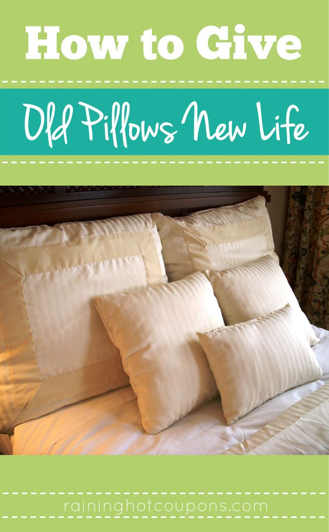 How To Give Old Pillows New Life! Throw them in  the dryer on a medium setting with two tennis balls and a dryer sheet.