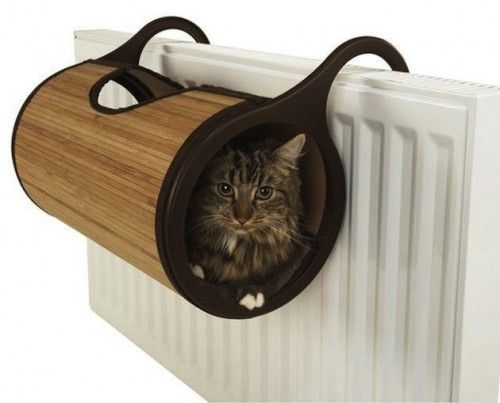 Kitty Stays Toasty in Unique Hanging Radiator Bed