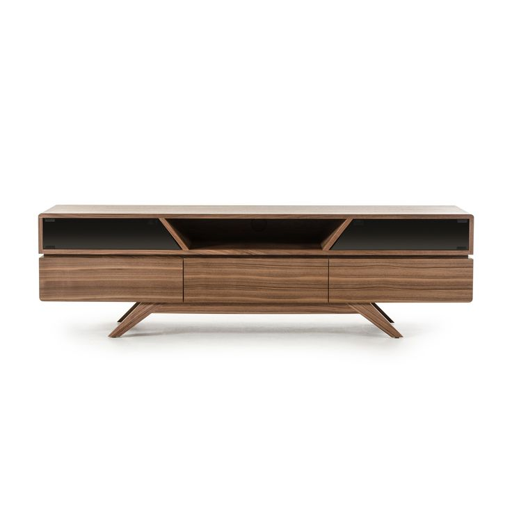 Let your TV stand out on this Soria Walnut TV Stand from VIG Furniture. This retro-looking stand has drawers and doors for your entertainment storage needs. Geometric shapes are complemented by the rounded edges to give you a unique look for your home.