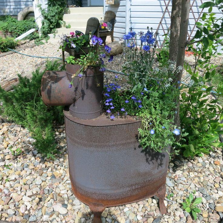 Pot bellied stove found at the dump vintage gardening for Garden separator